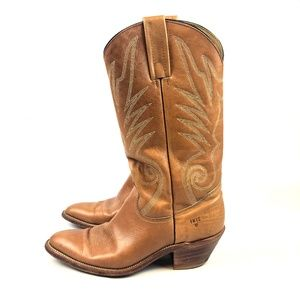 Frye Mens Tan Embroidered Cowboy Boots Western